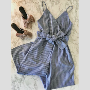 Sienna Sky Blue/White Striped Jumpsuit with Bow